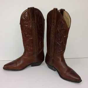 Cole Haan Cowboy Boots Classic Low Heel Brown 7.5